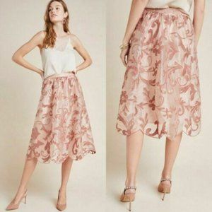 Anthropologie Floral Shannon Embroidered Midi Sz M